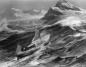 Rendition of the James Caird nearing South Georgia Island