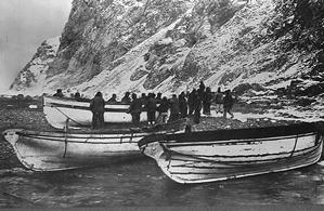 Shackleton's and his crew on arrival at Elephant Island with three lifeboats, Dudley Docker, James Caird, and Stancomb Wills Photo Credit: Frank Hurley/'National Library of Australia'