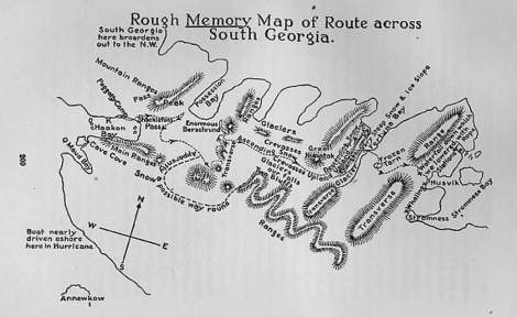 Sir Ernest Shackleton's Memory Map Across South GeorgiaFrom: 'South'Published: 1919 U.K., 1920 U.S.http://www.ibiblio.org/ebooks/Shackleton/South/South.htm