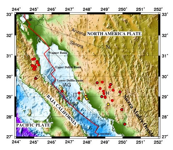 Gulf Of California Map.Widespread Ignimbrite Constrains Tectonic History Of The Gulf Of