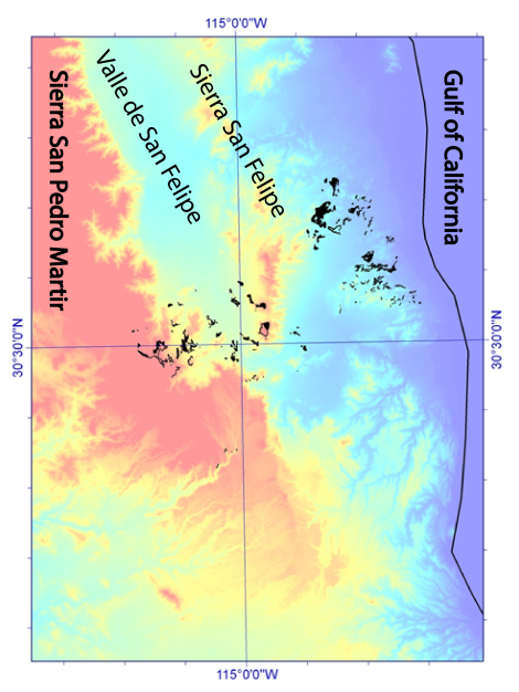 Figure 4. Outcrops of the Tuff of San Felipe in Baja California, draped over an ASTER-derived DEM.  Black line is approximate coastline of the Gulf of California.  Elevation difference of outcrops from coast to the high part of the Sierra San Pedro Martir is 1.6 km.  Scale ticks on edges of map: 5' in latitude and longitude.