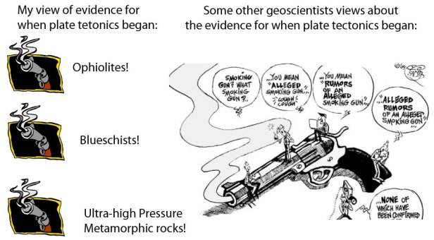 Fig. 2: Different views about Plate Tectonic Smoking guns. My views are on the left, the views of some/many other geoscientists are on the right.  Thanks to Julian Pearce for cartoon on right.
