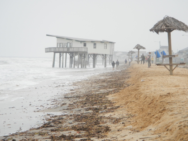One of the many reasons science needs to inform management in the coastal zone. Although the house currently is not occupied, it was still constructed in front of the dune line. Photo taken at Surfside Beach, the first fieldtrip stop.
