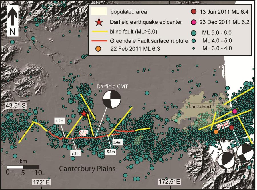 Figure 1: Epicenter locations for CES ML≥3.0 events from 4 September 2010 to 10 February 2013 (data from www.geonet.org.nz). Projected surface locations of major faults in yellow5,6 and location of mapped surface ruptures in red6, showing the complex array of primarily blind faults that ruptured during the CES. GF – Greendale Fault. PHF – Port Hills Fault. We use the GeoNet Regional Centroid Moment Tensor solution for the Darfield earthquake (Darfield CMT) (http://www.geonet.org.nz/resources/earthquake/).