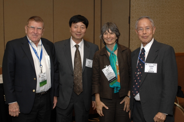 2011 GSA Annual Meeting International Section Reception. From left to right: Dr. Paul Robinson, Dr. Jingsui Yang, Dr. Joann Stock, and Dr. Louie Liou