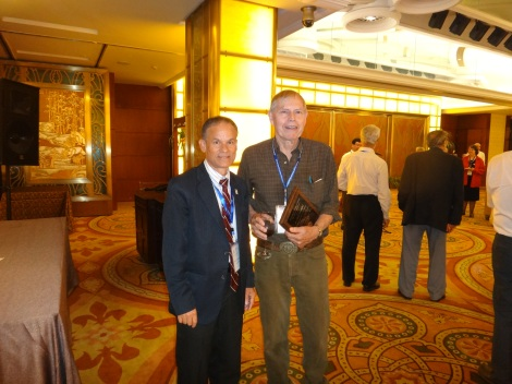 GSA International Section Secretary Nazrul Khandaker with Clark Burchfiel. Dr. Burchfiel received the Distinguished Service Award.