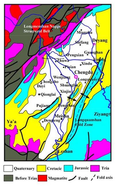 Figure 3. Geological sketch of Chengdu city and its periphery