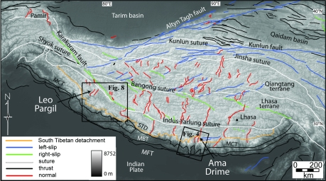 Figure 1. Shaded relief map of the Himalaya and Tibetan plateau with fault locations from Taylor and Yin (2009). Ama Drime massif (Fig. 4) and Leo Pargil dome (Fig. 8) occur in the transition between shortening in the foreland and extension in the Tibetan plateau. Modified after Langille et al. (in review).