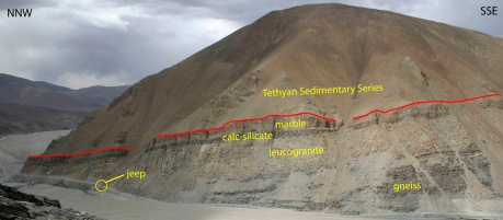 Figure 3. View toward the northeast of the South Tibetan detachment as exposed north of Mount Everest in Rongbuk valley, Tibet. Northeast-directed shearing juxtaposed the Tethyan Sedimentary Series in the hanging wall (slope former) with marble, calc-silicates, leucogranite, and gneiss in the footwall (Jessup et al., 2006).