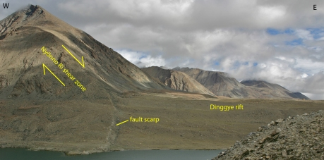 Figure 5. View toward the north along the Nyönno Ri detachment and the Dinggye rift. Footwall rocks are composed of sheared Ama Drime orthogneiss. Triangular facets are 1-km-tall. A fault scarp offset glacial moraines. Minimum exhumation rates derived from (U-Th)/He apatite thermochronometry were approximately 1 mm/yr between 1.5 and 3.0 Ma (Jessup et al., 2008).