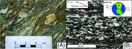 Figure 6. (A) Mylonite with shear bands from the Ama Drime detachment viewed toward the north records west-directed shearing. (B) Oblique grain shape fabric in an ultramylonite. Lattice preferred orientation (LPO) defined the flow plane. Angular relationships between Instantaneous Stretching Axis (ISA) and the flow plane were used to estimate strain and displacement on the shear zone (Langille et al., 2010).