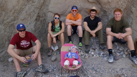 Figure 3. Photo of the author's daughter and five current Carleton students on a Structural Geology field trip. Photo credit: MacKenzie Person.