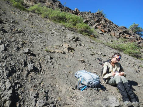 Figure 3: Atwater recording geospatial details of a new fossil locality in DENA.