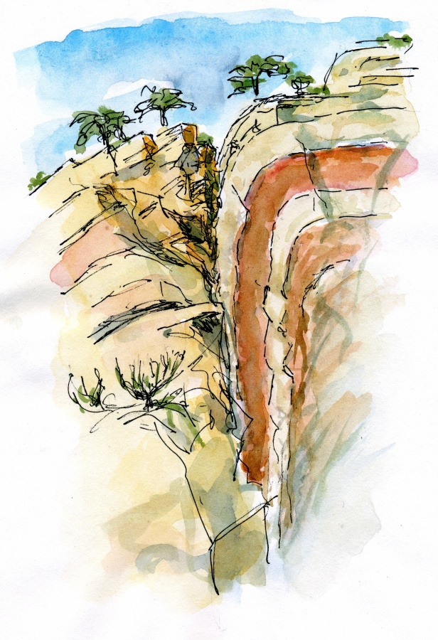 Figure 6: Drag/smear along steep fault, Colorado National Monument. Brushing up sketches at night is a great way to improve sketches and make them look better. I find it hard to find time for things like this when in a hotel with internet access and dozens of new e-mail distractions lined up every night.