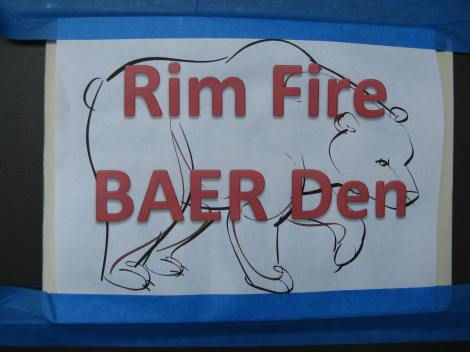 Figure 5 – The sign posted on the door to the room serving as the work area for the BAER team at one of the area motels.