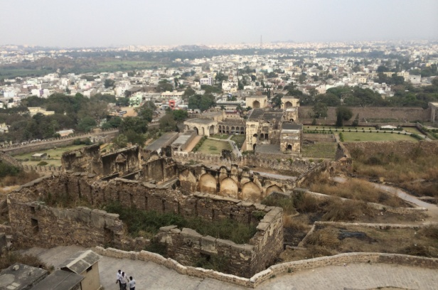 A view of Fort Golconda with the city of Hyderabad in the background.   The fort has a 7 km circumference.