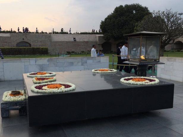 A flame burns at Raj Ghat – Mahatma Ghandi's cremation site.