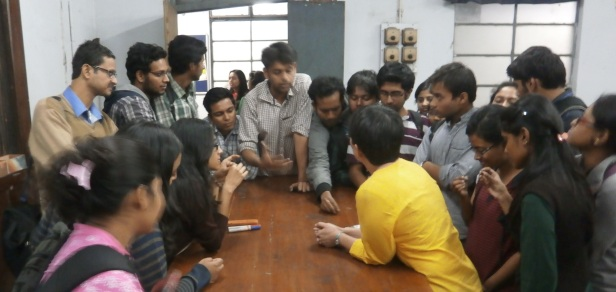 Engaged students at University of Calcutta discuss concretions (I am in yellow, foreground).