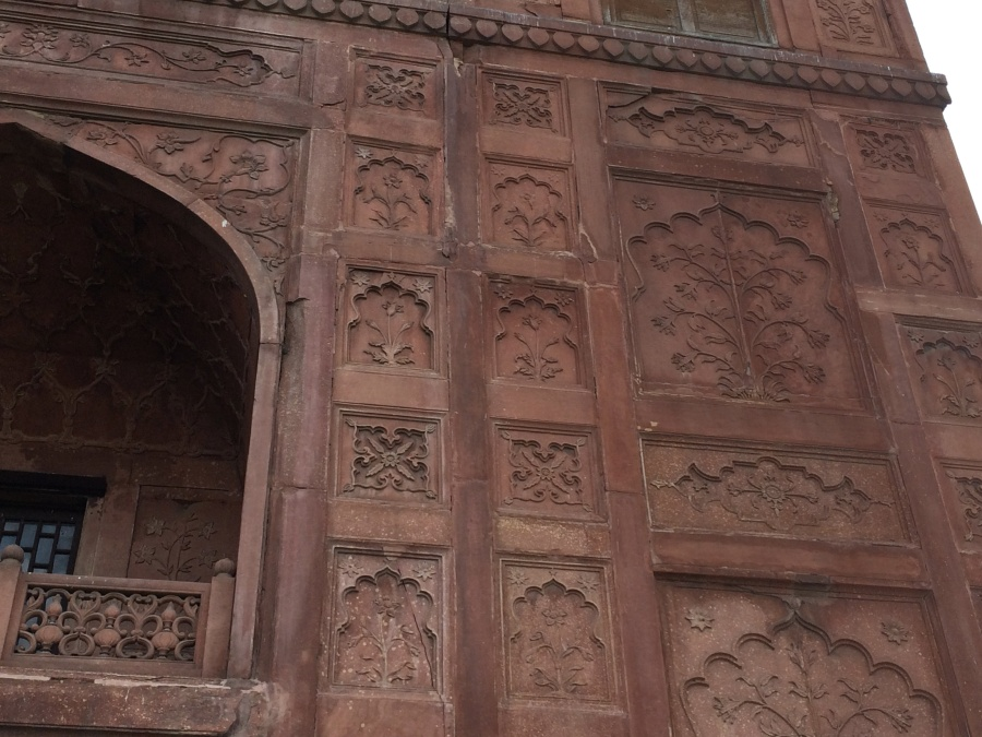 Some of the Vindhyan sandstone of Red Fort is intricately carved.