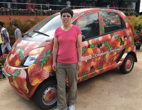 "This is a strawberry version of the Tata ""nano"".  The ""nano"" is the world's cheapest car at ~ $2000 US dollars, made for the Indian market."