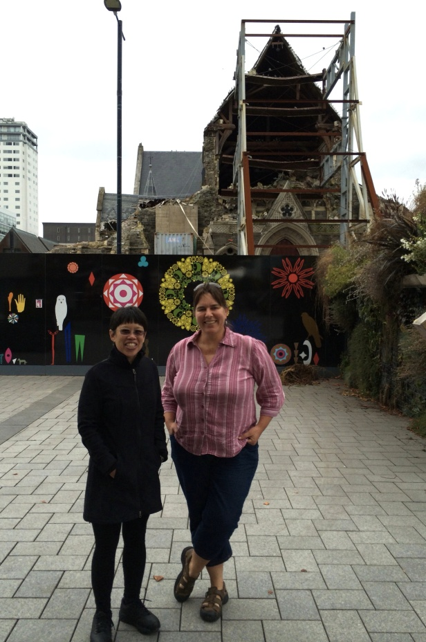 My host Catherine Reid, paleontologist on the University of Canterbury faculty, gave us a quick tour of earthquake damage in the city.