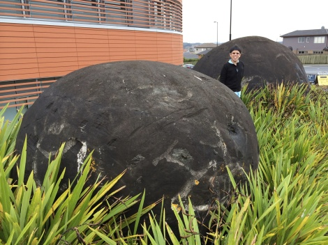 Two large Cretaceous carbonate concretions positioned at an Auckland traffic intersection are even larger than the famed Moeraki boulders of the South Island.