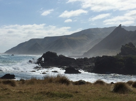 "A view of ""Kupe Sail"" from Cape Palliser.  It is made of tilted Miocene Mangatoetoe sedimentary rocks overlying  Mesozoic basement rocks."