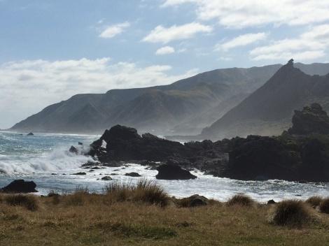 "A view of ""Kupe Sail"" from Cape Palliser.  It is made of tilted Miocene Mangatoetoe sedimentary rocks overlying  Mesozoic basement rocks."