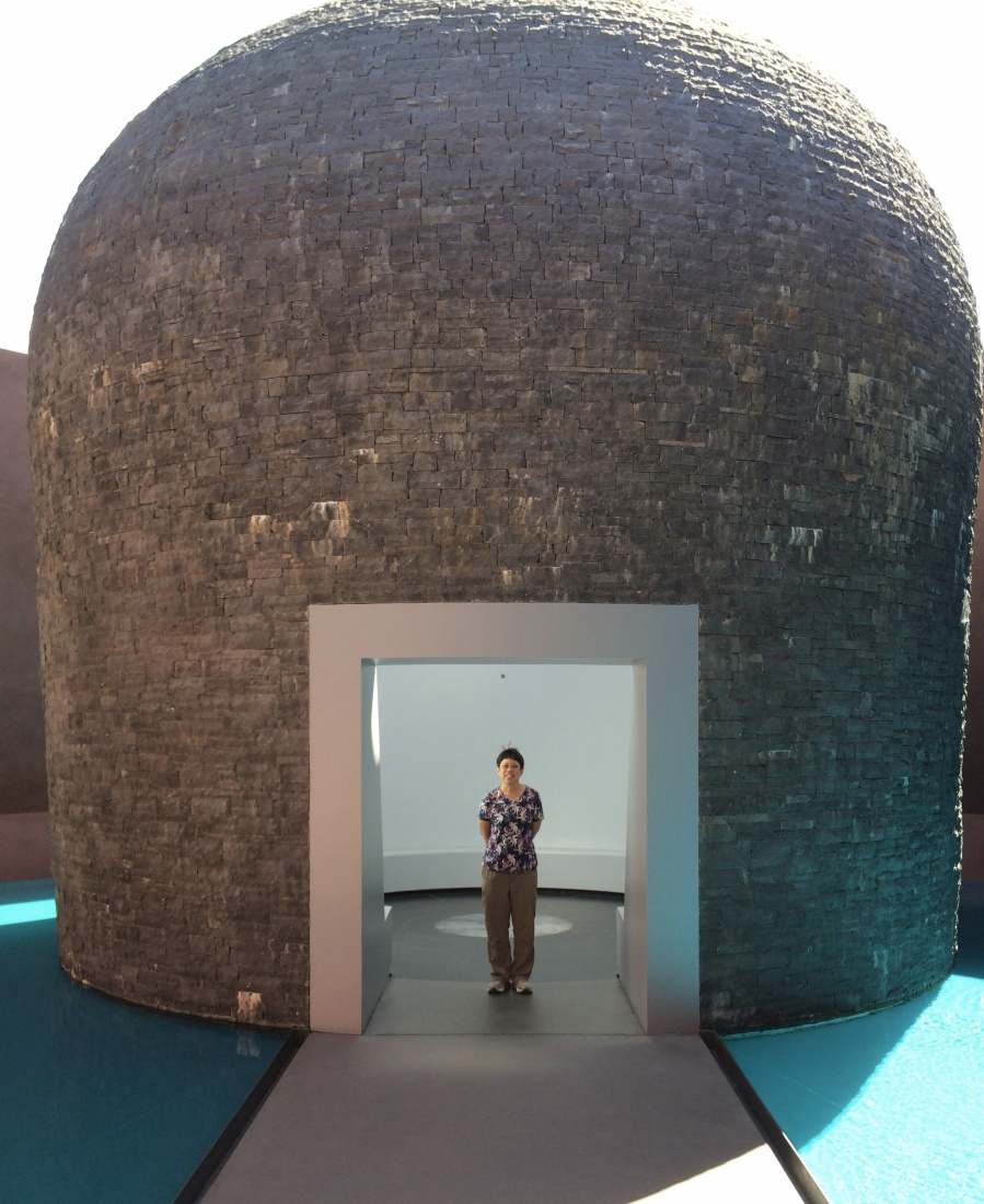 "James Turrell's ""Within Without"" basalt, water, earth, and landscape art."