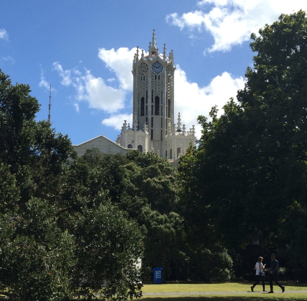 Clock tower at the University of Auckland.