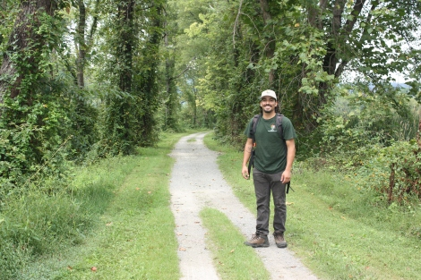 Mosaics and GeoCorps participant Ivan Carabajal out on the towpath of the C&O Canal