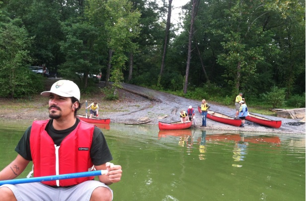 Author helping lead a water sampling lesson for North Hagerstown High School at Big Pool on the C&O Canal