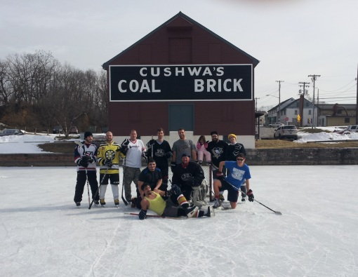 Pond hockey at the Cushwa Basin at the C&O Canal NHP (Author located center, bottom)