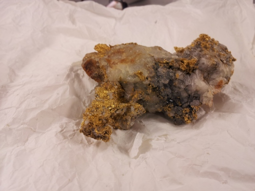 Gold sample recovered from the Maryland Mine. About~4.5 inches in length