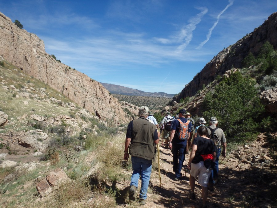 An Earth Science Week hike along the old Priest Canyon Road from the Precambrian rocks of the Royal Gorge to the Cretaceous rocks around Cañon City.