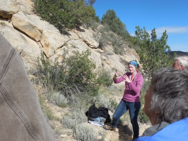 One of the hikes led us down the Dakota Hogback into the Cretaceous shales and limestones underlying Cañon City. I probably stopped everyone to talk about ripples on bedding surfaces of the Dakota Sandstone… (Photo Courtesy of Cindy Smith).