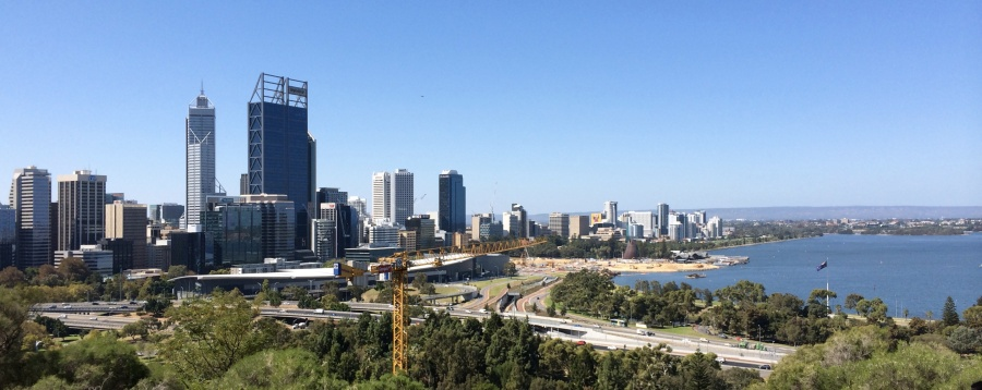 The tall BHP Billiton tower dominates Perth's business district skyline.