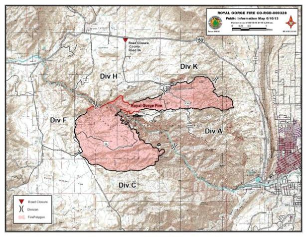 A public information map created by a GIS Specialist for the Royal Gorge Fire. This map came from InciWeb (inciweb.nwcg.gov).