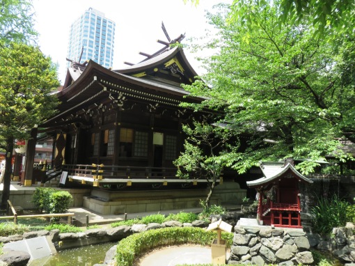 Lovely temple in busy Shinjuku district of Tokyo.