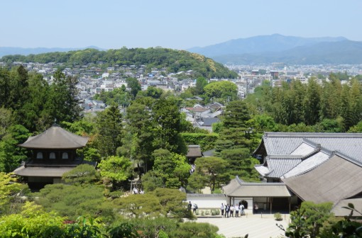 The Ginkaku-ji Temple grounds (foreground) were established in 1482.