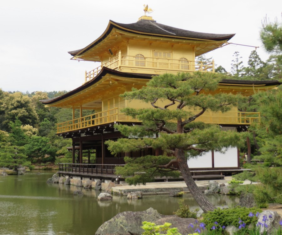 The impressive Kinkaku-ji (Golden Pavilion) covered in gold leaf has burned down several times throughout its history, with the present structure rebuilt in 1955.