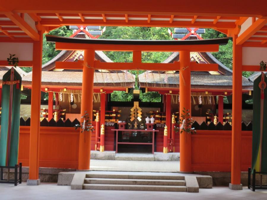 Yoshida shrine (c 991) is only a short walk from Kyoto University.