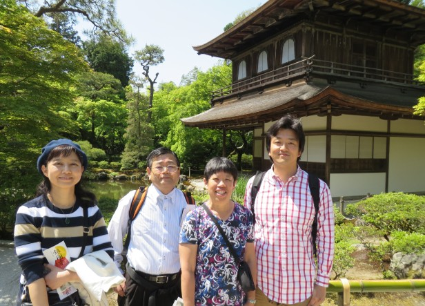 My sedimentology hosts – Professors Hajime Naruse, Tetsuji Muto, Miwa Yokokawa took us on a walk before my talk.  Here we stopped at the Ginkakuji Temple, a World Cultural Heritage Site Zen temple established in 1482.  It is renowned for its beautiful grounds, mossy, with lovely raked sand patterns, including one representing Mt. Fuji.