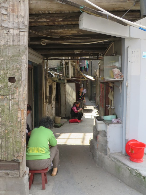 In parts of Shanghai there are distinctive narrow streets and alleys.