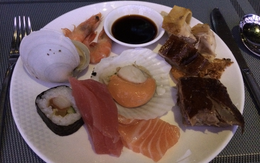 At the Oriental Pearl, I filled my buffet plate with nigiri tuna and other seafood eats.