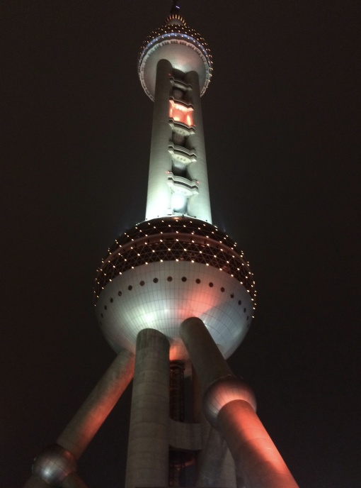 It was a treat to eat at the Oriental Pearl Tower, an atomic age rocket tower with a restaurant in the upper bubble, and a glass-floored overhanging observation deck.