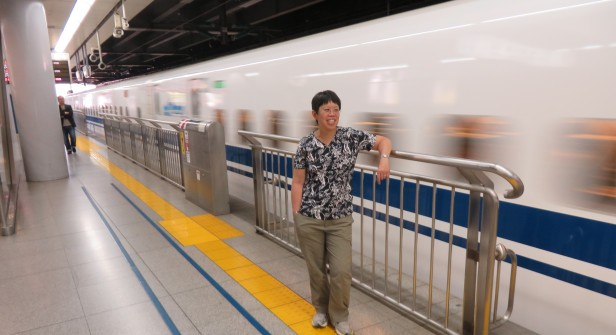 The quiet and smooth Shinkansen bullet trains come and go before you know it.