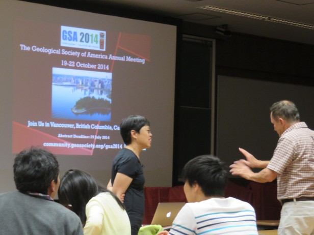 Discussing after the talk with Joseph Kirschvink of CalTech and ELSI.