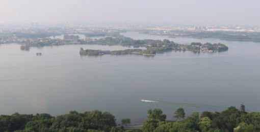 East Lake is a large lake in the Wuhan area and we had a scenic overlook from a nearby hill.