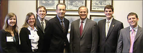 Geoscientists meet with Rep. Chet Edwards (R-TX, third from right) during the 2008 Geosciences Congressional Visits Day.